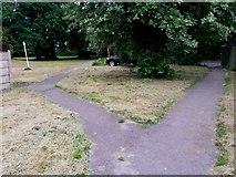 SZ0794 : Ensbury Park: footpath N23 becomes footpath N28 by Chris Downer