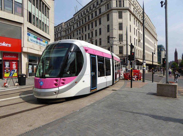 Midland Metro tram no. 32 in Corporation Street, Birmingham