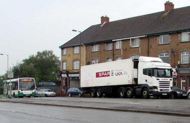 Spar lorry, Malpas, Newport
