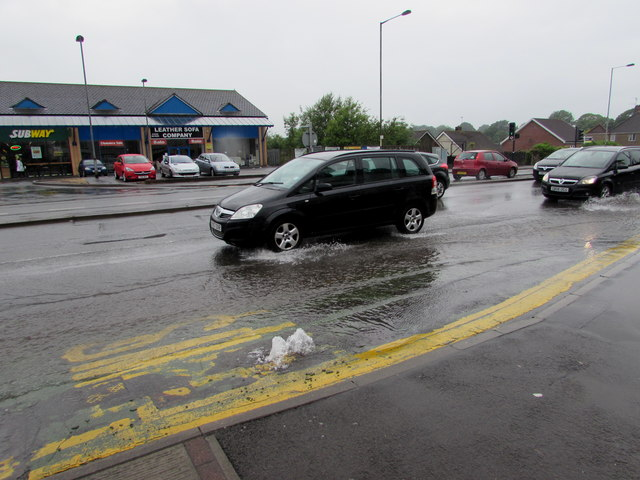 Burst water main, Malpas Road, Newport