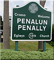 SS1198 : Bilingual Croeso/Welcome Penalun/Penally sign by Jaggery