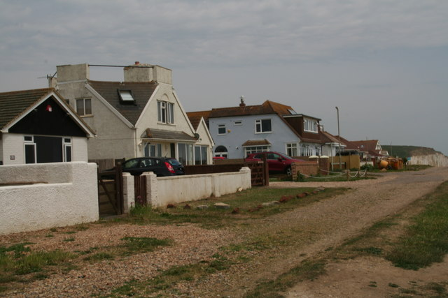 Sea view: houses at the end of Cornwall Avenue, Peacehaven by Chris