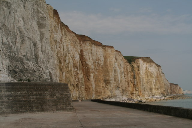 Orange-tinged chalk cliffs, Friars' Bay, Peacehaven by Chris