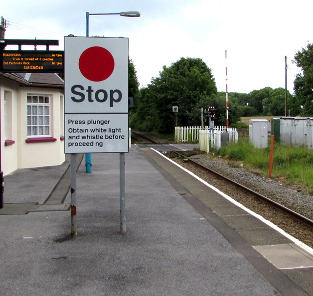 Stop sign on Manorbier railway station