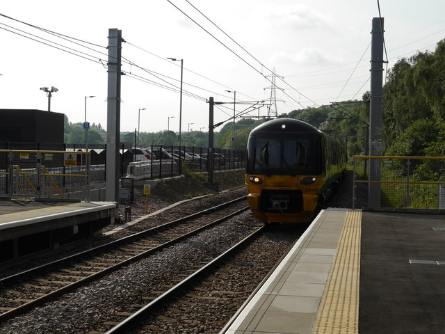 The first scheduled train arrives at Kirkstall Forge station
