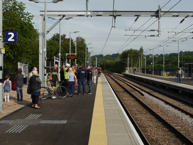Waiting for the first train at Kirkstall Forge Station