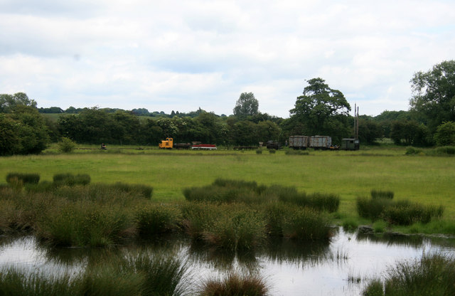 Amerton Railway - looking across a wet area to stored stock