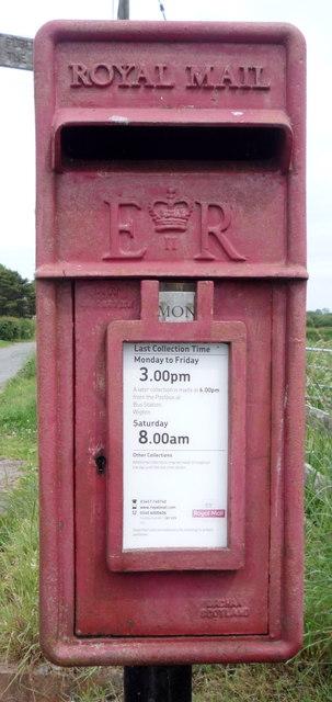 Close up, Elizabeth II postbox, Biglands