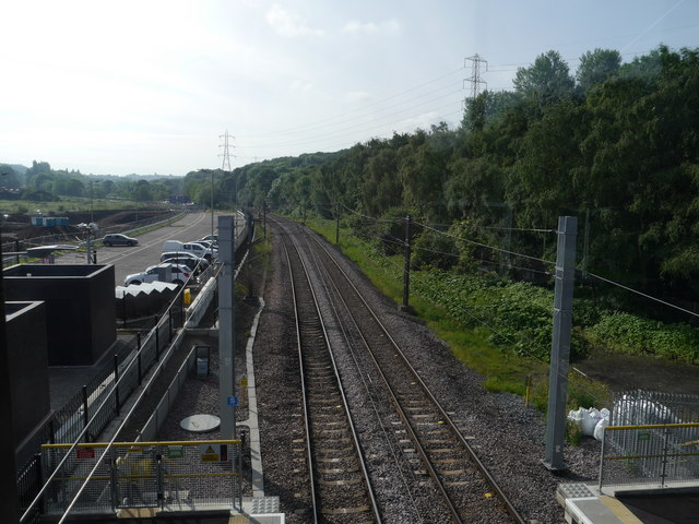 Looking down on the tracks at Kirkstall Forge Station