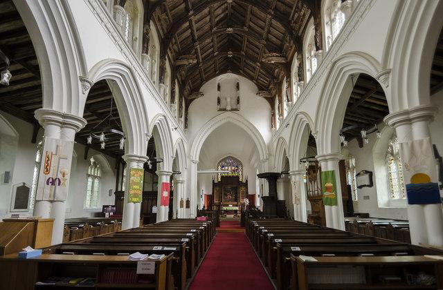 Interior, All Saints' church, Necton