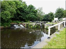 SE2519 : Canal locks at the junction of the Calder and Hebble canal and the section into Savile Town by Steve  Fareham