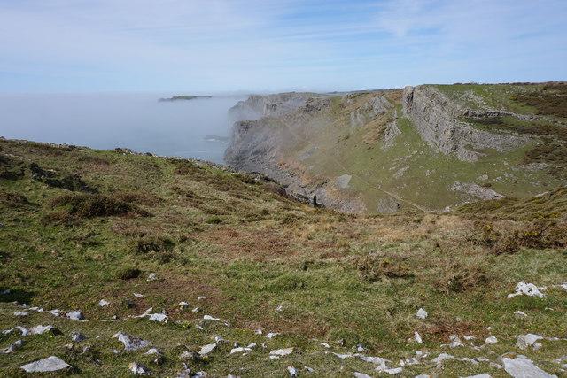 Clifftop above Mewslade Bay