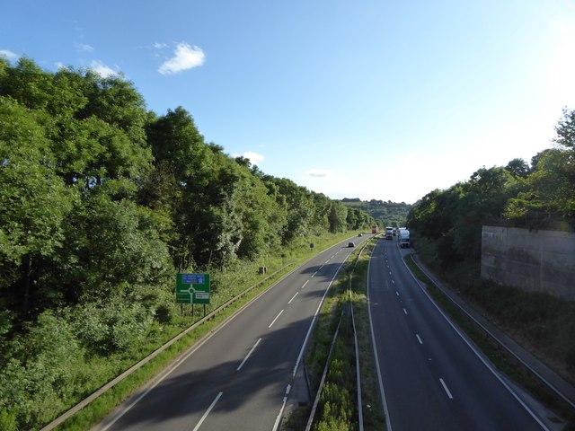 A500 westwards from road bridge