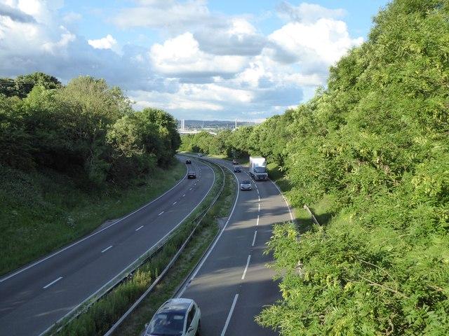 A500 eastwards from road bridge