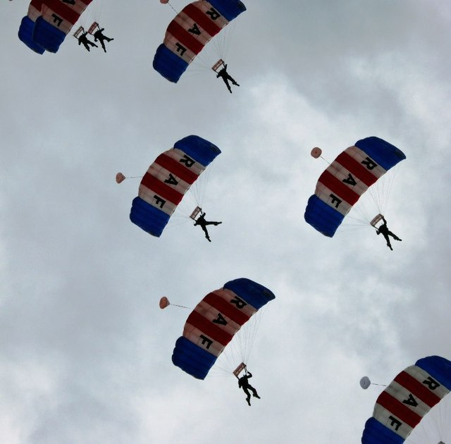 RAF Falcons parachute display team in action