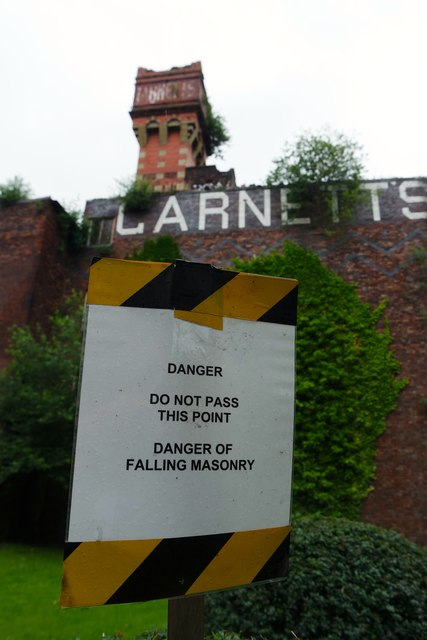 Danger Of Falling Masonry, Garnettu0027s Cabinet Works, Warrington