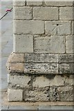 TL1998 : 1GL bench mark, St John the Baptist Church, Peterborough by Alan Murray-Rust