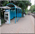 ST1780 : Ticket machine and passenger shelter on Ty Glas railway station, Cardiff by Jaggery
