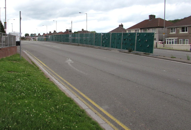 Temporary barrier in the middle of Malpas Road, Newport