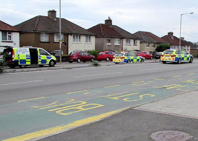 Collision Investigation Unit van and two police cars, Malpas Road, Newport