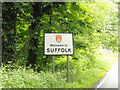 TL8980 : Suffolk County Name sign on the A1088 Thetford Road by Adrian Cable