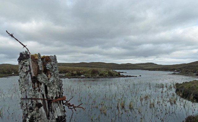 Fence post by Loch Leathain, Isle of Lewis