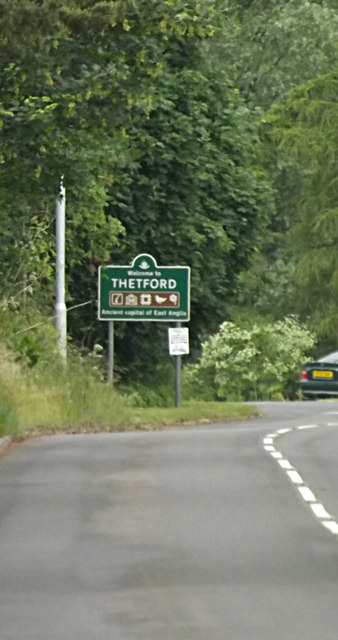 Thetford Town Name sign on the A1088 Thetford Road