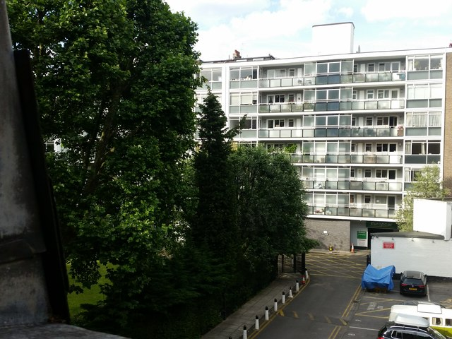 Lancaster Gardens & Elms Mews from Room 466 of the Corus Hotel, Lancaster Gate