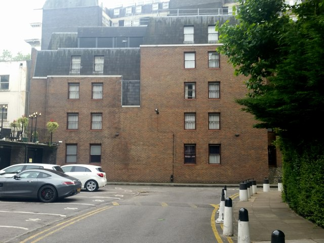 Elms Mews and the rear of the Corus Hotel, Bayswater
