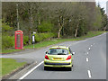 SN9962 : Telephone Box and Bus Stop at Argoed by David Dixon