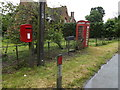 TL9383 : Old Post Office Cottage Postbox & Telephone Box by Adrian Cable