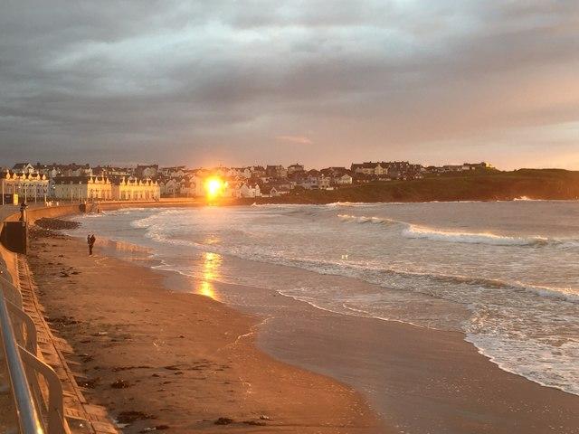 Gloomy sunset at the West Strand, Portrush