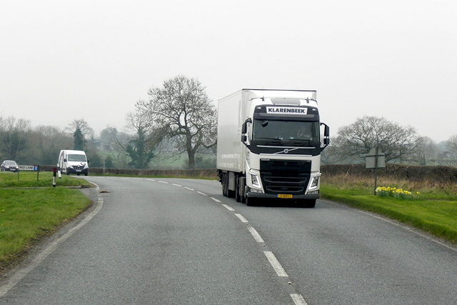 Volvo HGV on Tarporley Road near Lower Whitley