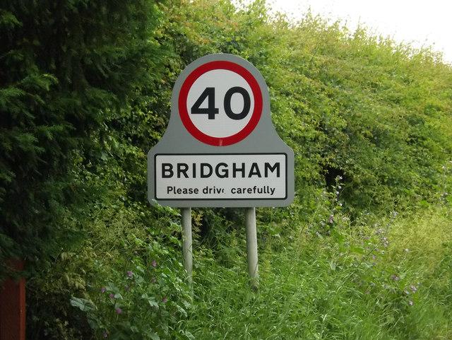 Bridgham Village Name sign on The Street