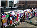 SE2933 : The knitted narrowboat, Leeds Waterfront Festival 2016 by Rich Tea