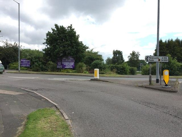 Clayton: A519 towards Newcastle-under-Lyme