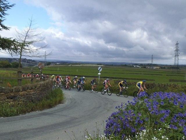 Racing cyclists on Ten Yards Lane