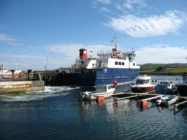 The Whalsay ferry, MV Linga, leaving Symbister pier