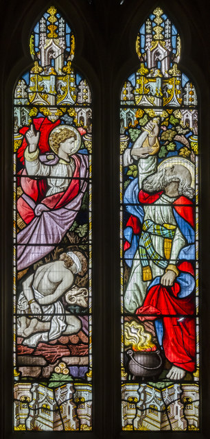 South chancel stained glass window, St Michael and All Angels' church, Booton