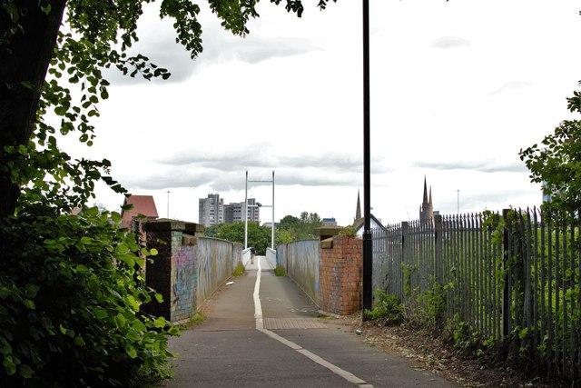 A pedestrian bridge in Coventry