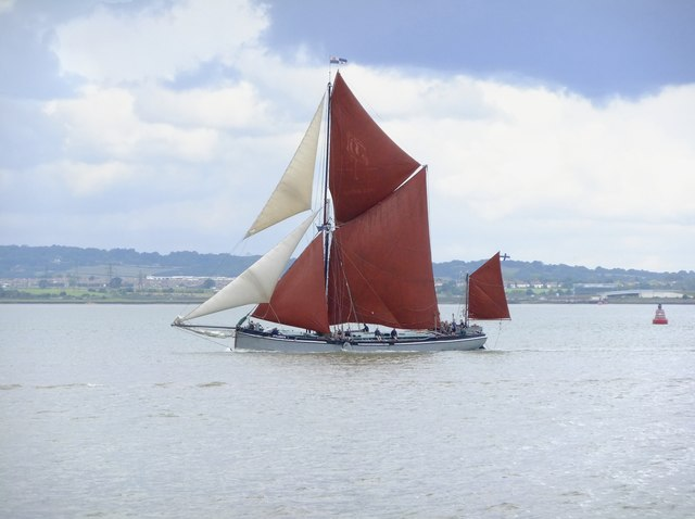 Sailing barge 'Xylonite' passing Lower Hope Point