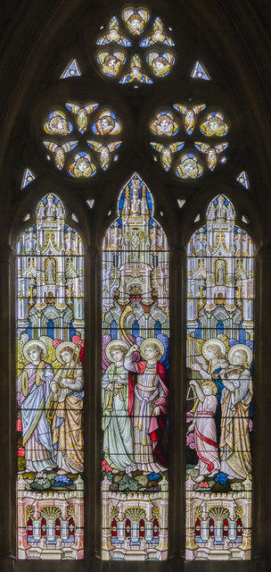 South stained glass window, St Michael and All Angels' church, Booton
