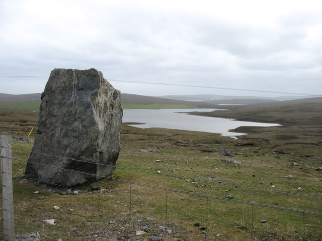 Standing stone, overlooking the Loch of Burraland