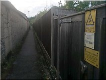 SZ0895 : Redhill: danger of death on footpath O13 by Chris Downer
