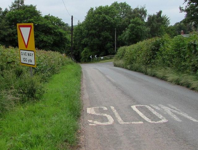 Misaligned Give Way 100 Yards Ahead sign near Pencraig