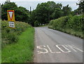 SO5620 : Misaligned Give Way 100 Yards Ahead sign near Pencraig by Jaggery