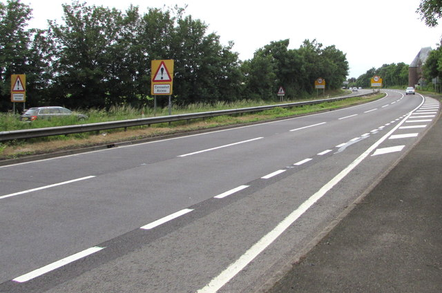 Warning signs - Concealed Access on the A40 near Pencraig