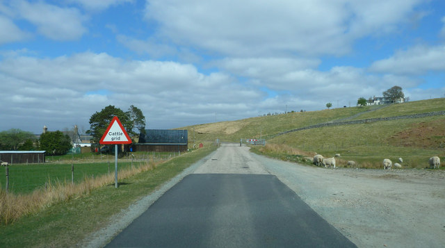 A897 approaching Cattle grid