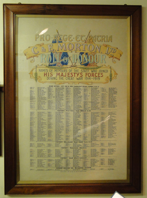 C & E Morton Ltd. 1914 -1919 Roll of Honour