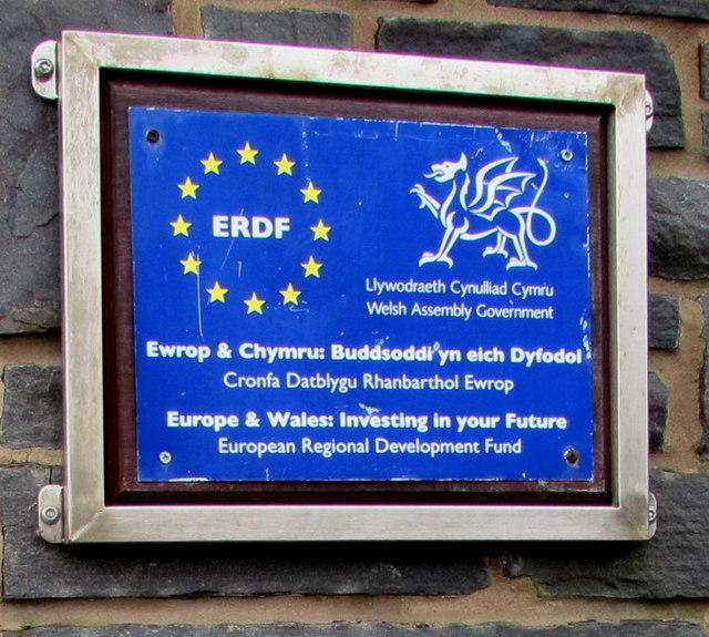 European Regional Development Fund plaque in Bargoed